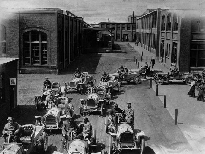 Packard cars go for a road test.